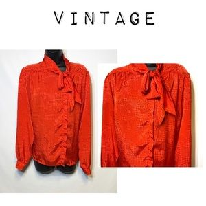 Vintage red satin silk pussycat bow button down.